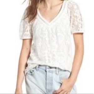 NWT Hinge Lace V-neck Short Sleeve Blouse